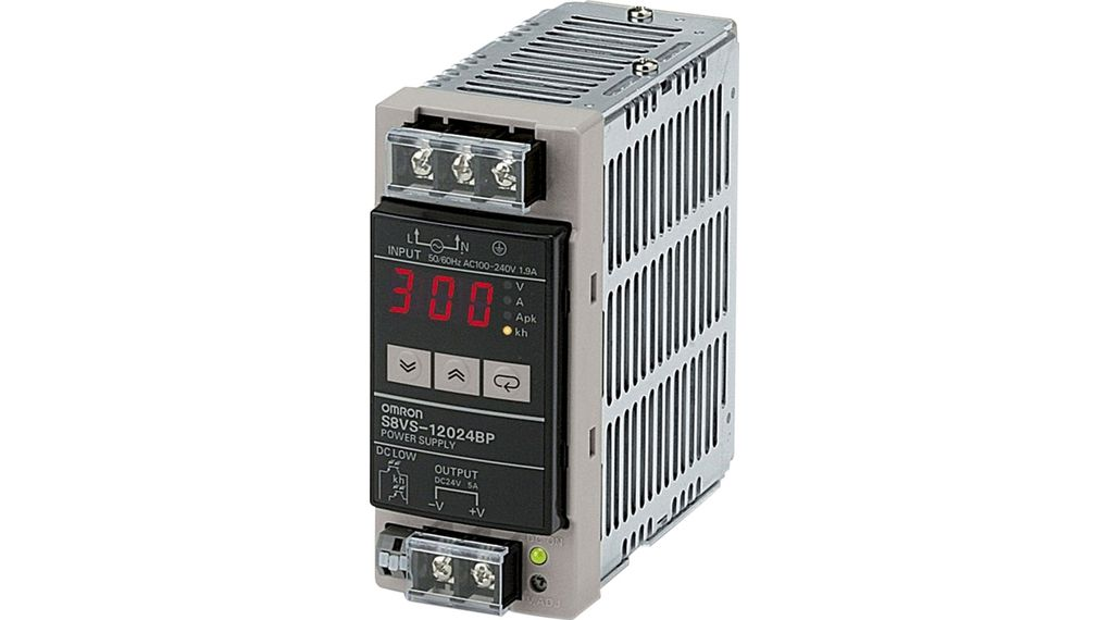 S8VS12024B Power Supply, 120W, 100 240V, 24V, 5A Omron Industrial Automation