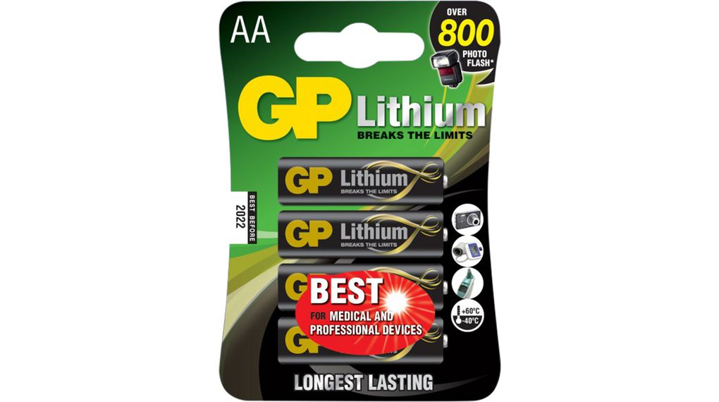 Gp 15lf 2u4 1 5v Lithium Gp Batteries Primary Battery Lithium Aa 1 5v Lithium Pack Of 4 Pieces Distrelec Export Shop