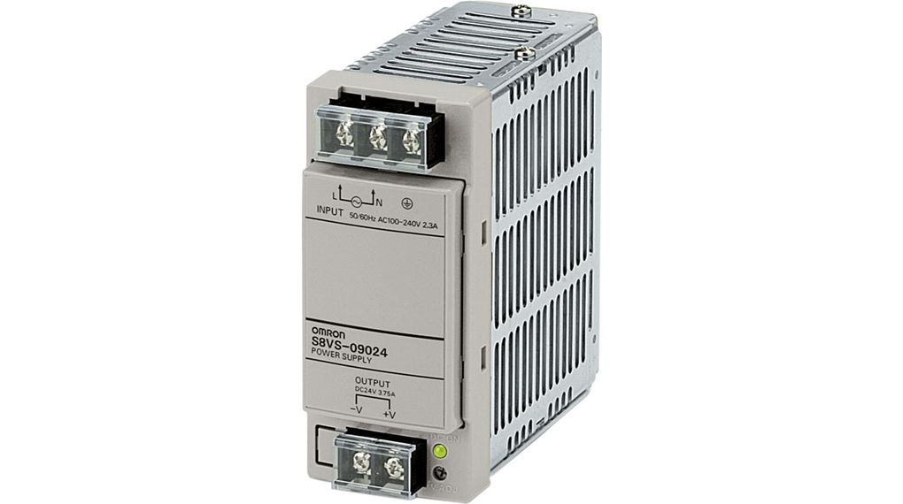 S8VS09024 Power Supply, 90W, 100 240V, 24V, 375A Omron Industrial Automation