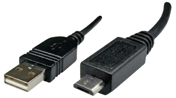 Micro-USB 2.0 Cable USB-A plug to Micro-B plug black silver flexible 1.5m