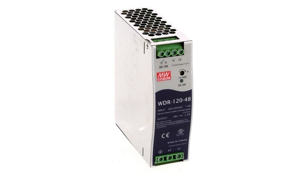Industrial DIN Rail Switching Power Supply 120W Single Output 48V 2.5A MEAN WELL