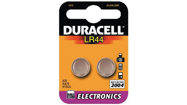 LR44 Button Cell Battery, Alkaline 15 V 105 mAh PU=Pack of 2 ...