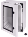 Cabinet, PC-Grey cover with window, 2-point locking, hinges on the long side, 300x300x800mm Buy {0}